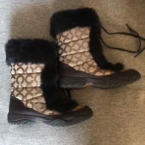 Coach Jennie Fur Snow Boots 7 1/2